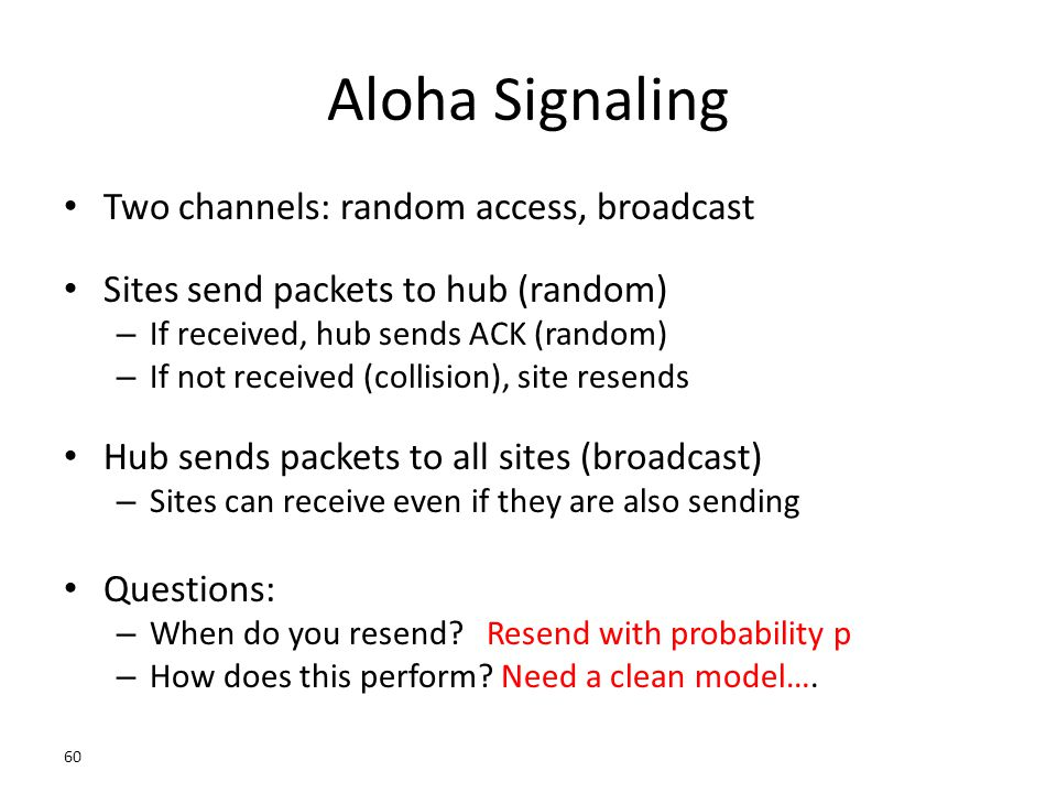 Aloha Signaling Two channels: random access, broadcast