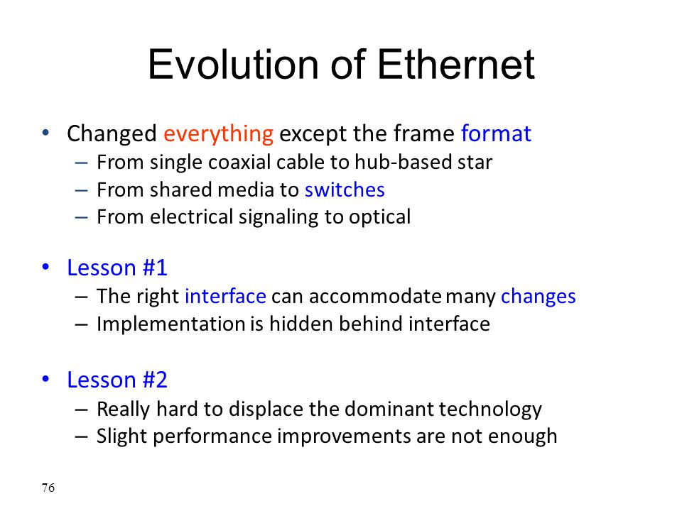 Evolution of Ethernet Changed everything except the frame format