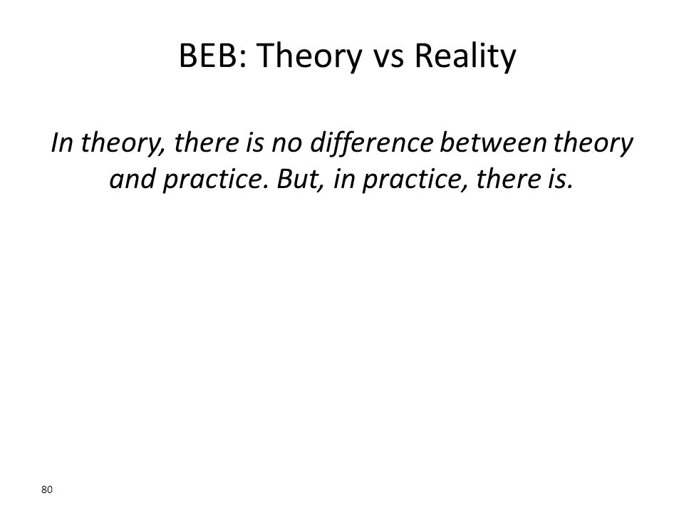 BEB: Theory vs Reality In theory, there is no difference between theory and practice.