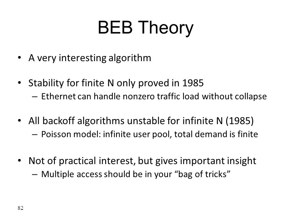 BEB Theory A very interesting algorithm