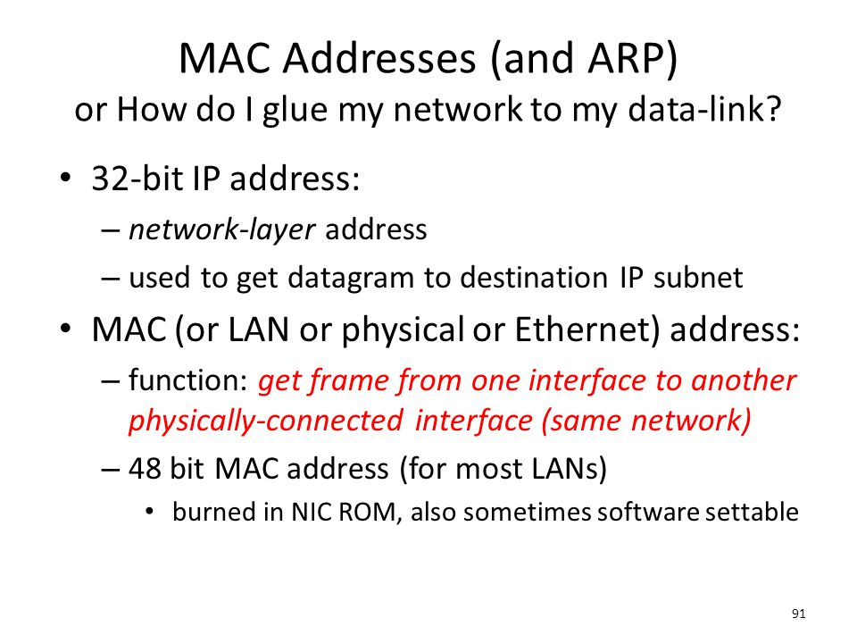 MAC Addresses (and ARP) or How do I glue my network to my data-link