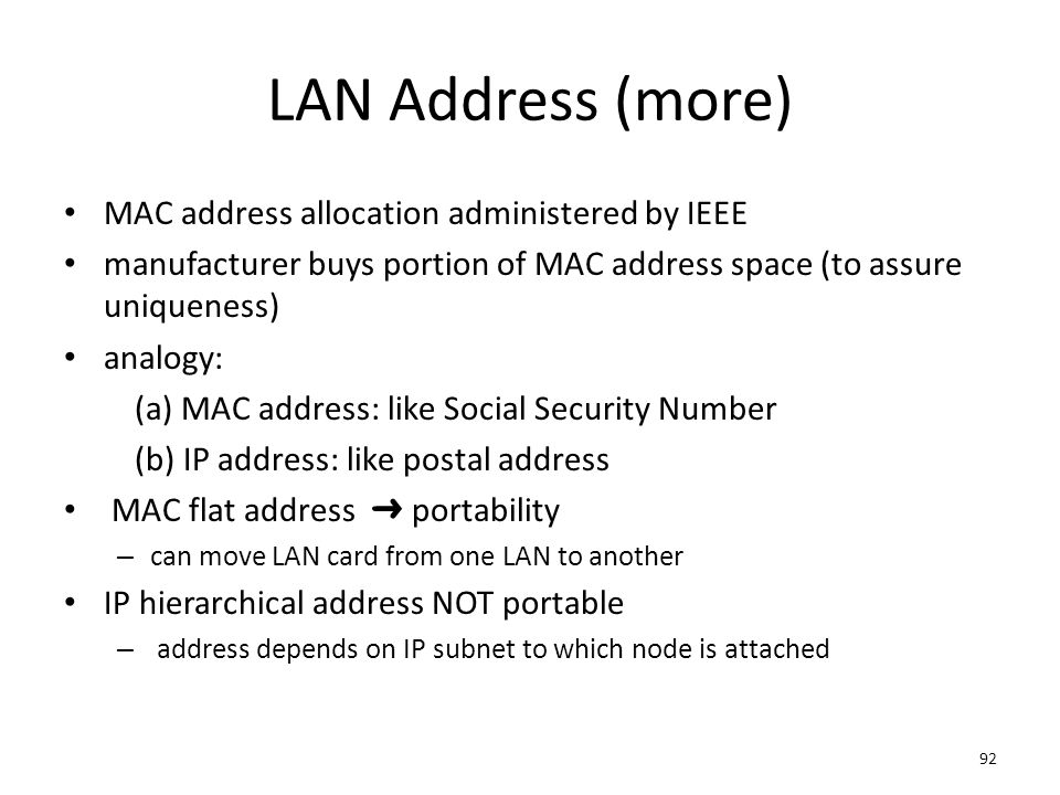 LAN Address (more) MAC address allocation administered by IEEE