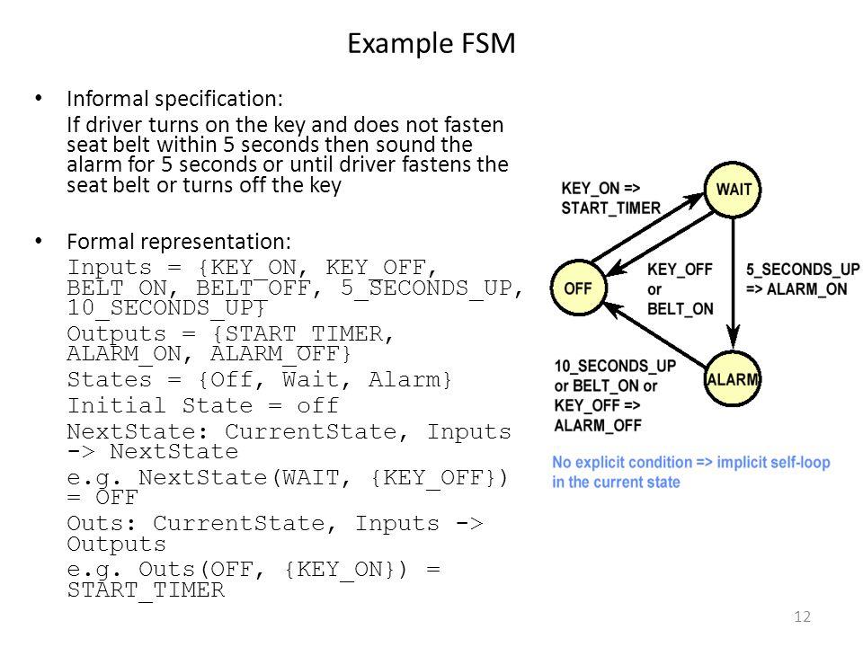 Example FSM Informal specification: