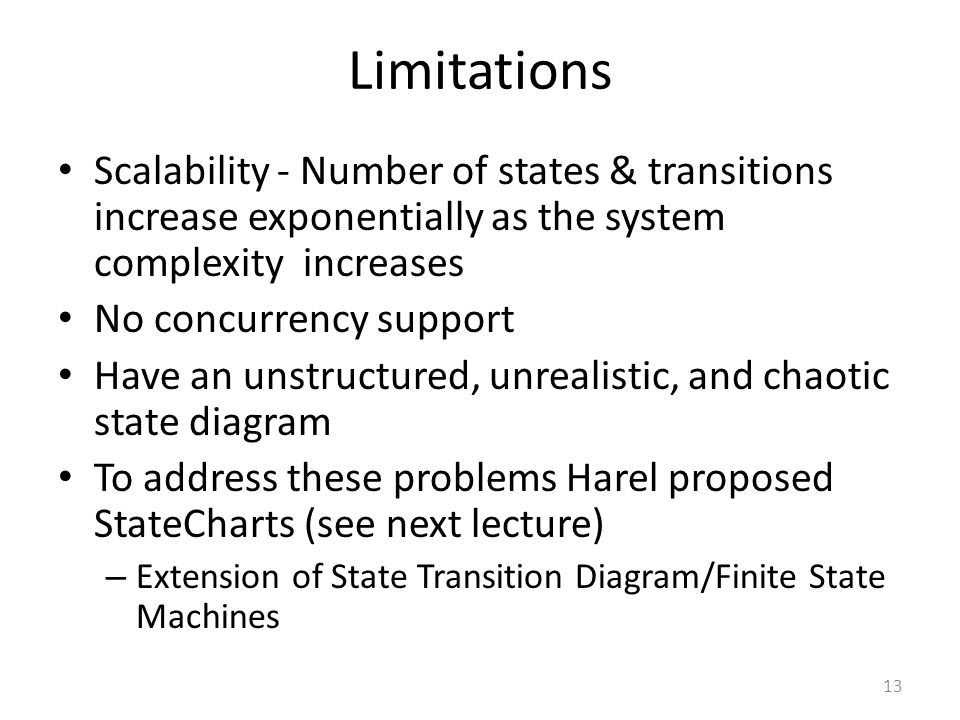 Limitations Scalability - Number of states & transitions increase exponentially as the system complexity increases.
