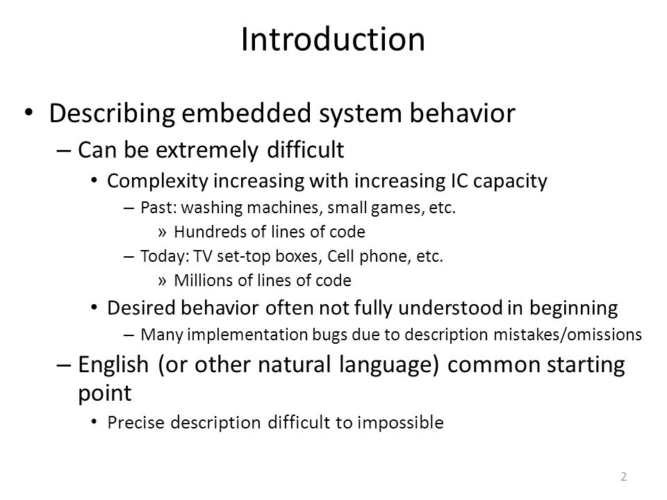 Introduction Describing embedded system behavior