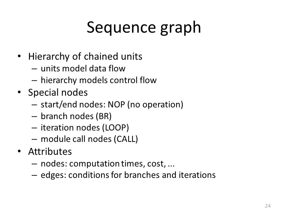 Sequence graph Hierarchy of chained units Special nodes Attributes