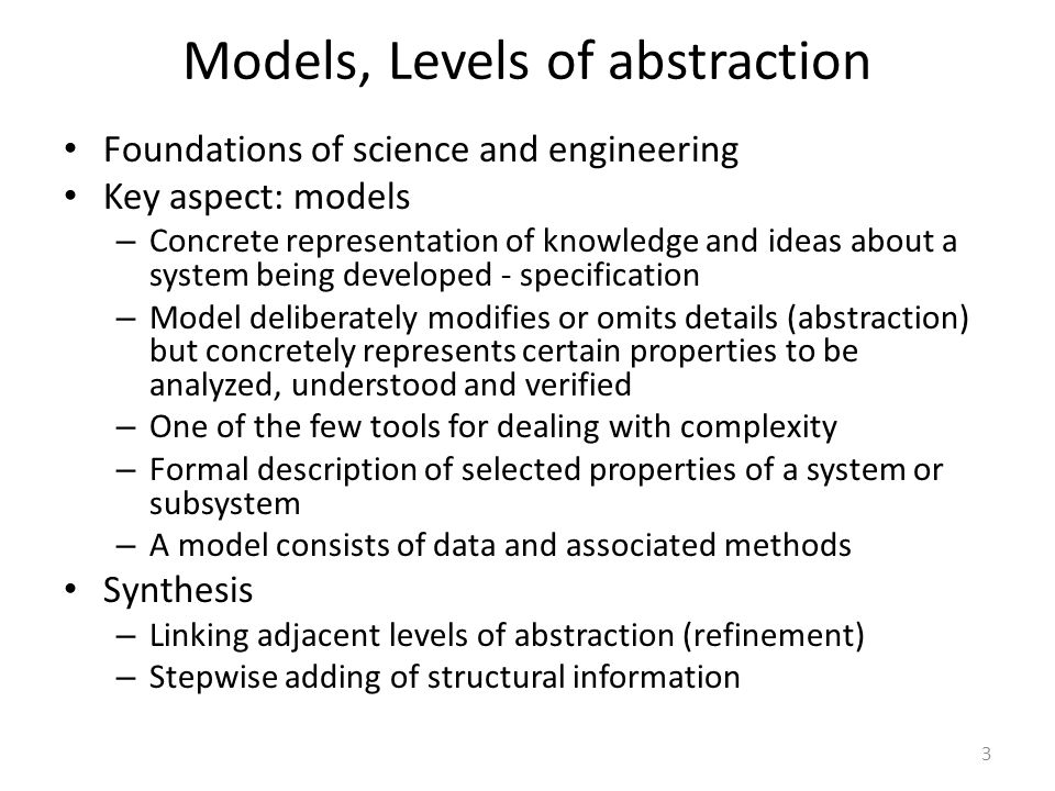 Models, Levels of abstraction