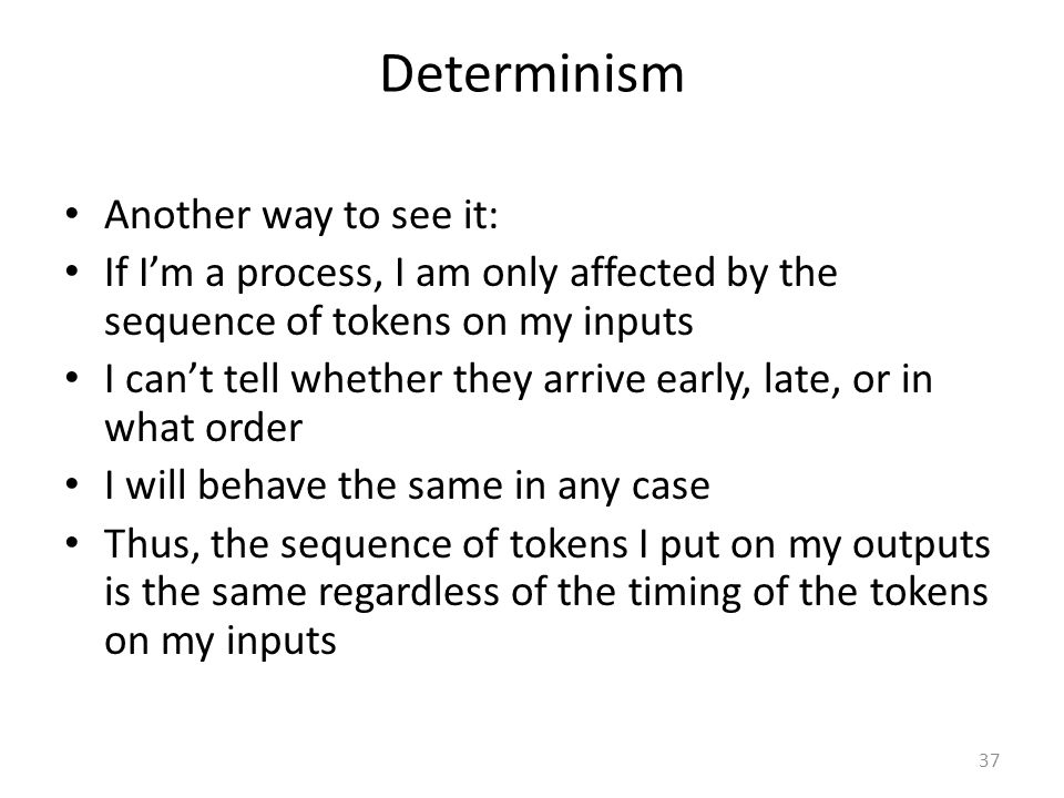 Determinism Another way to see it: