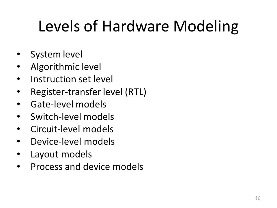 Levels of Hardware Modeling
