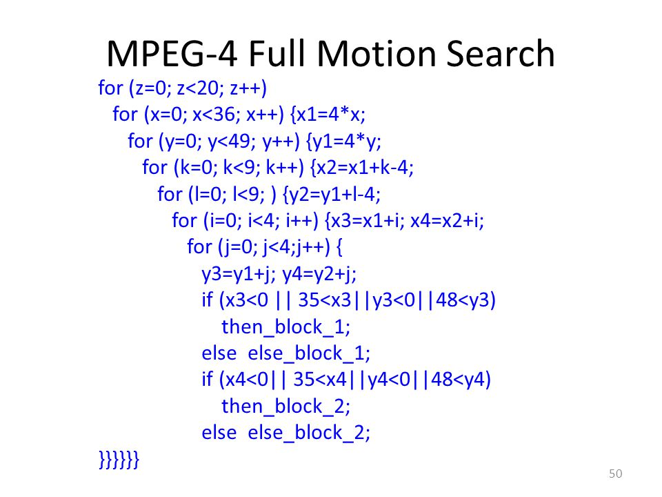 MPEG-4 Full Motion Search