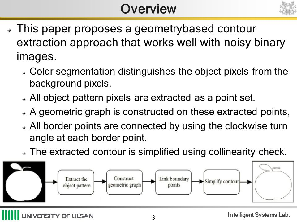 Overview This paper proposes a geometrybased contour extraction approach that works well with noisy binary images.