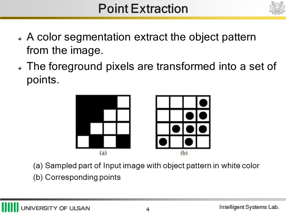 Point Extraction A color segmentation extract the object pattern from the image. The foreground pixels are transformed into a set of points.