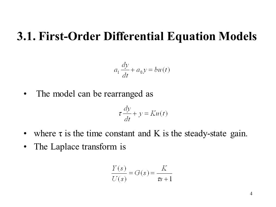 3.1. First-Order Differential Equation Models