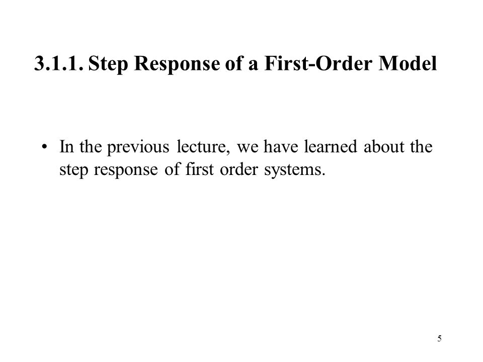 Step Response of a First-Order Model