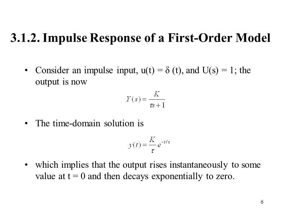 3.1.2. Impulse Response of a First-Order Model