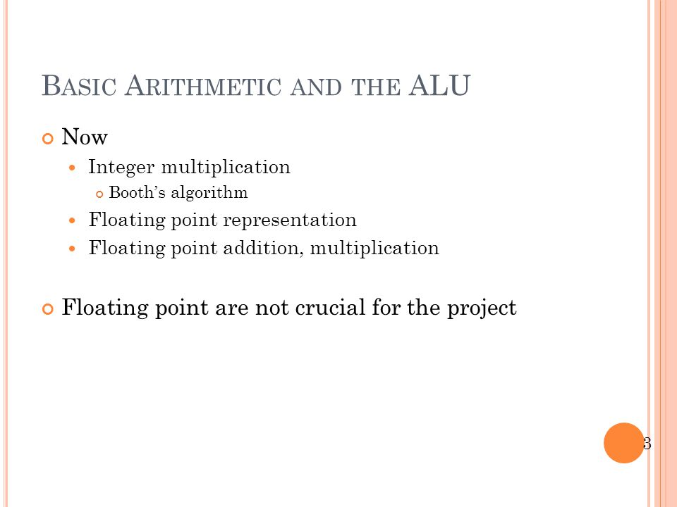 Basic Arithmetic and the ALU