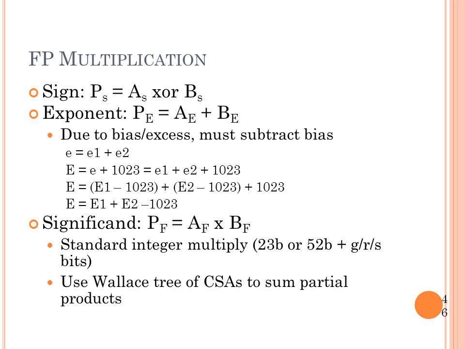 FP Multiplication Sign: Ps = As xor Bs Exponent: PE = AE + BE