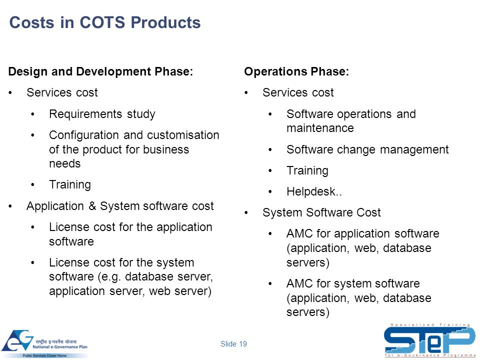 Costs in COTS Products Design and Development Phase: Services cost