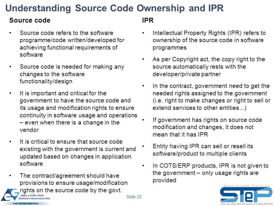 Understanding Source Code Ownership and IPR