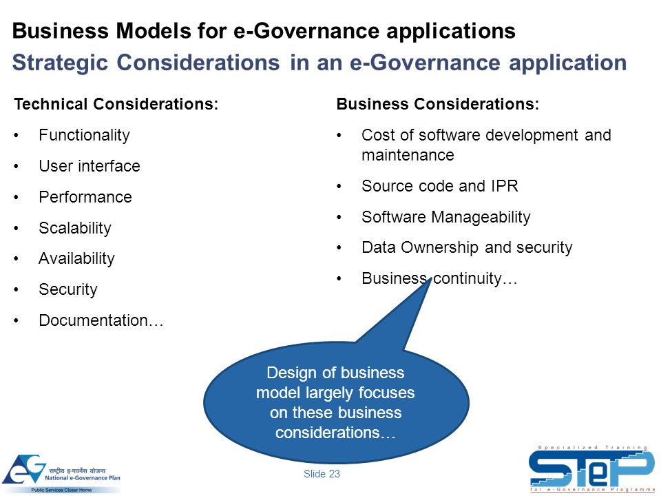 Business Models for e-Governance applications
