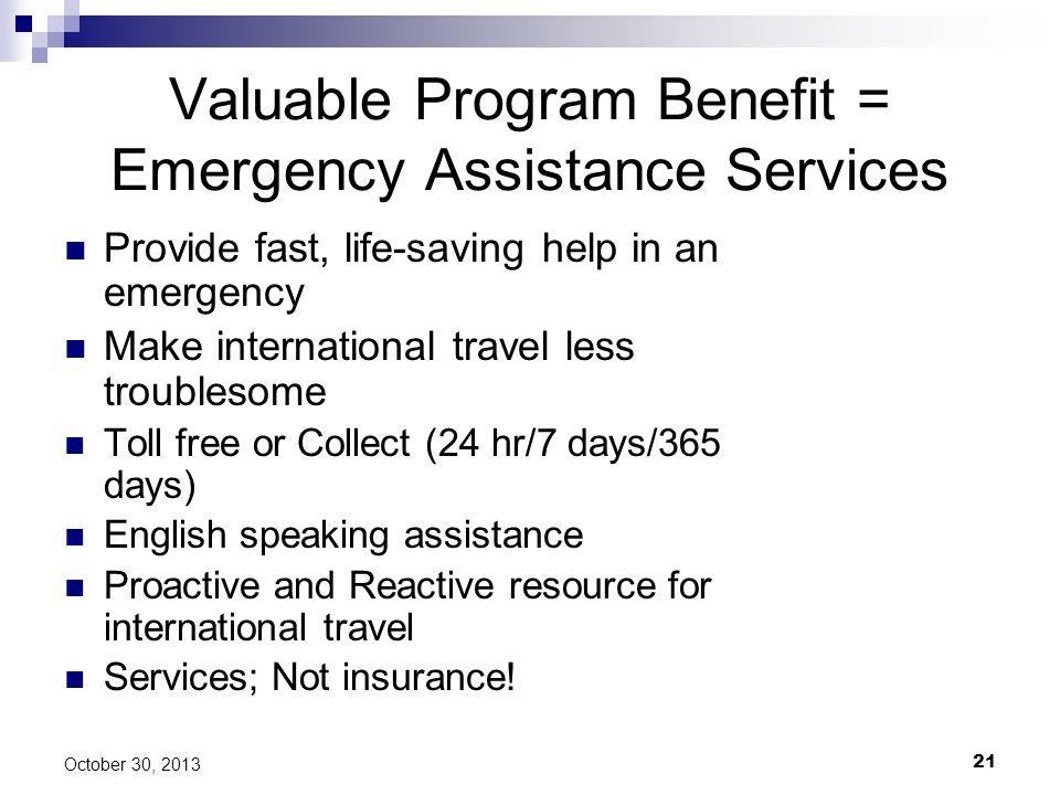 Valuable Program Benefit = Emergency Assistance Services