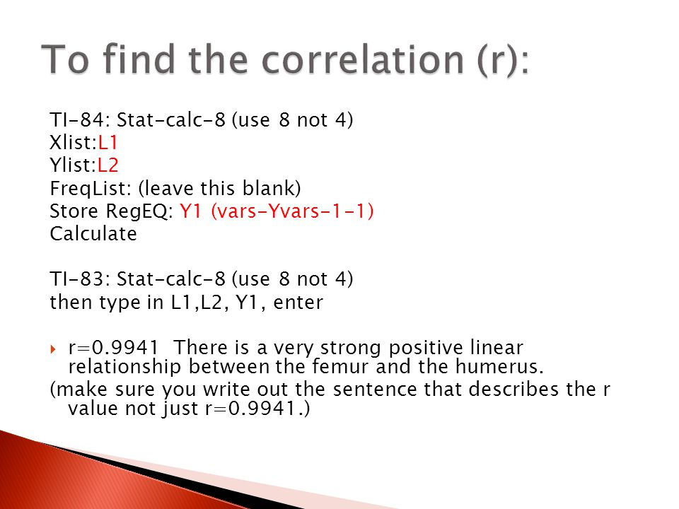To find the correlation (r):