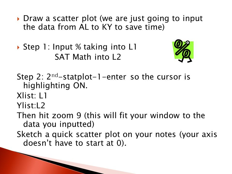 Draw a scatter plot (we are just going to input the data from AL to KY to save time)