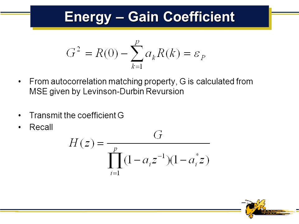 Energy – Gain Coefficient