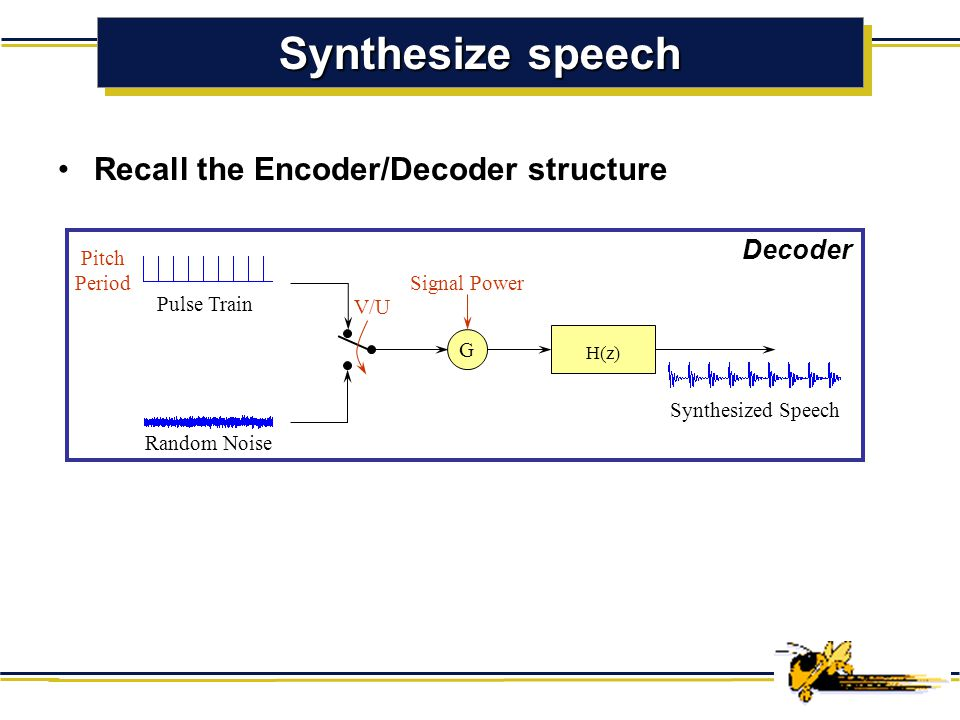 Synthesize speech Recall the Encoder/Decoder structure Decoder