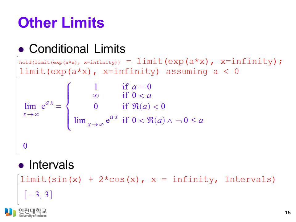 Other Limits Conditional Limits Intervals