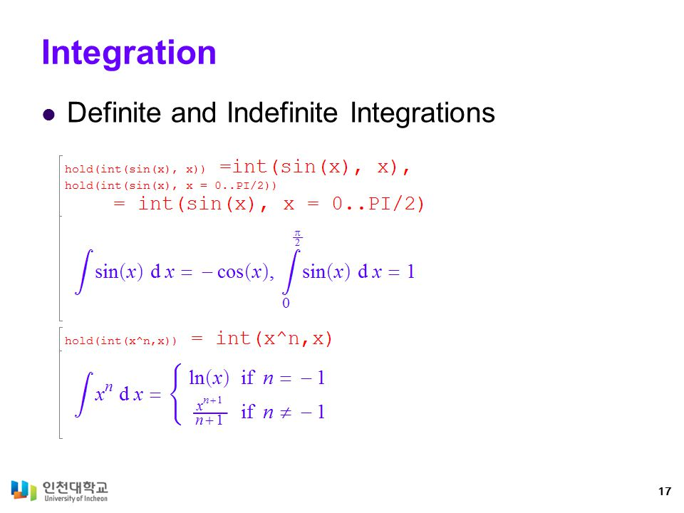 Integration Definite and Indefinite Integrations