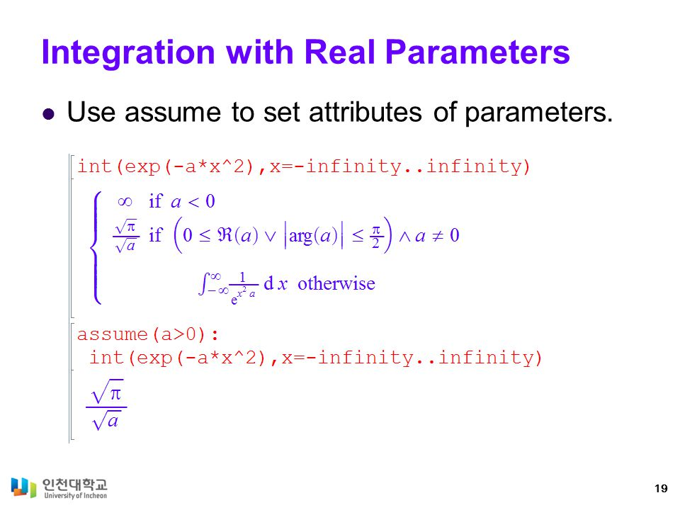 Integration with Real Parameters