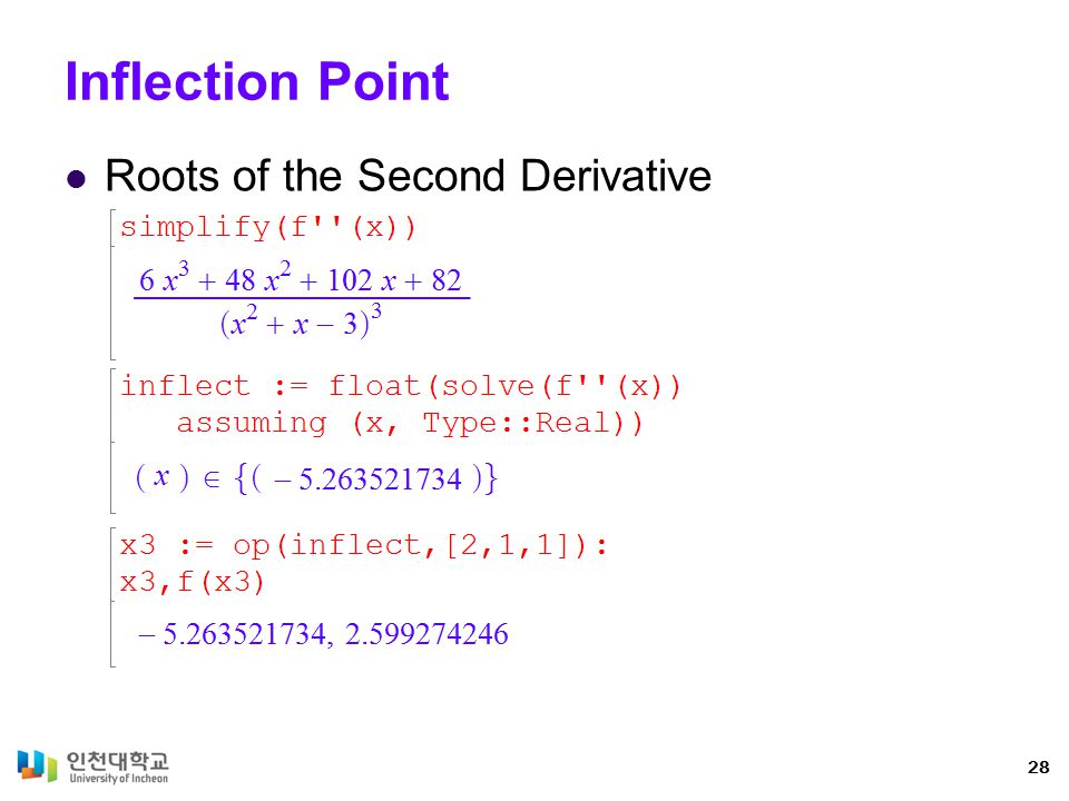 Inflection Point Roots of the Second Derivative