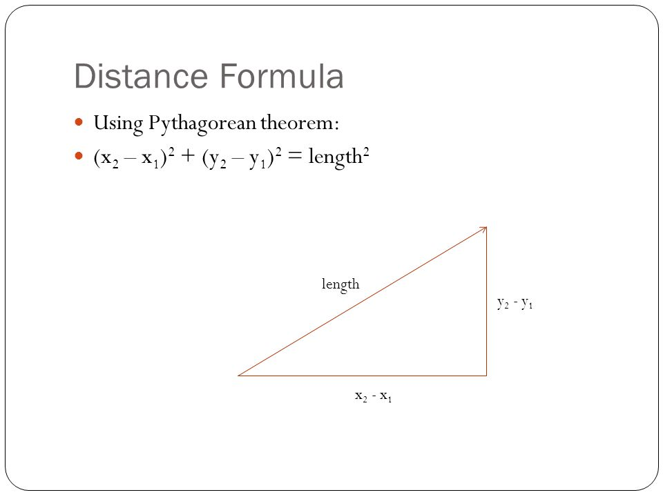 Distance Formula Using Pythagorean theorem: