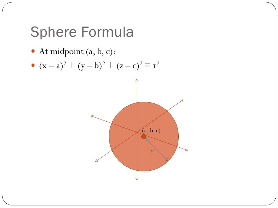 Sphere Formula At midpoint (a, b, c):
