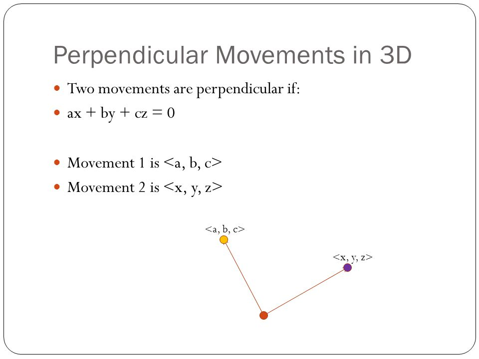 Perpendicular Movements in 3D