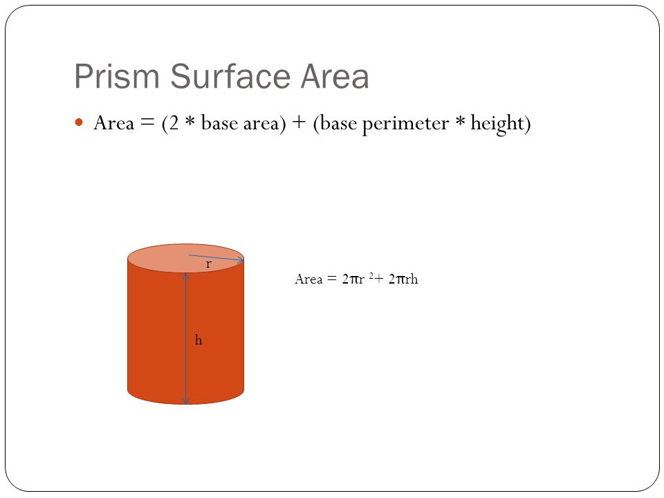 Prism Surface Area Area = (2 * base area) + (base perimeter * height)