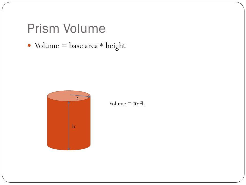 Prism Volume Volume = base area * height r Volume = πr 2h h