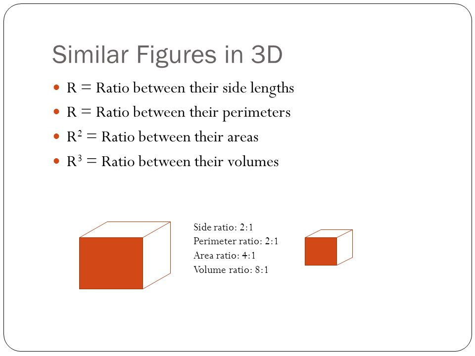 Similar Figures in 3D R = Ratio between their side lengths