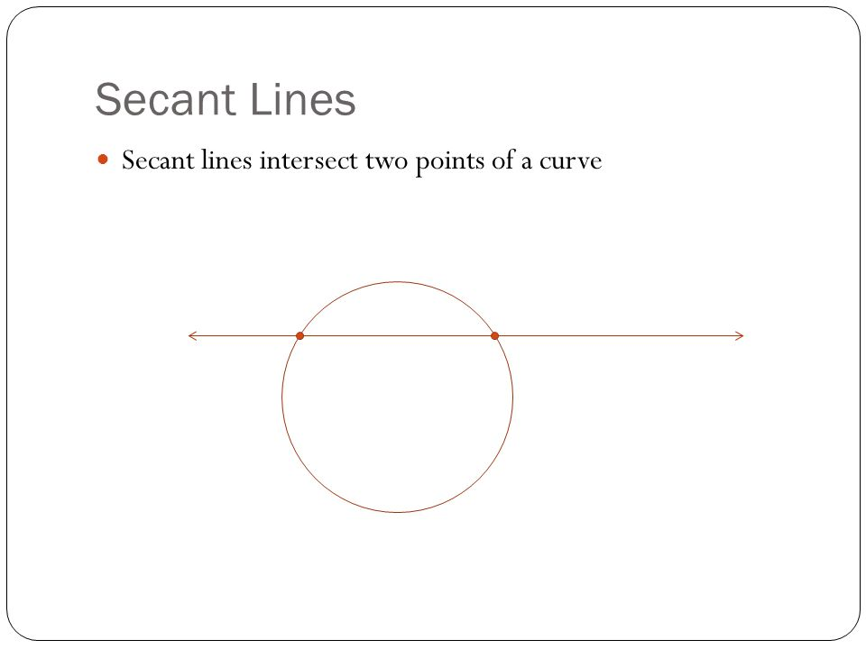 Secant Lines Secant lines intersect two points of a curve