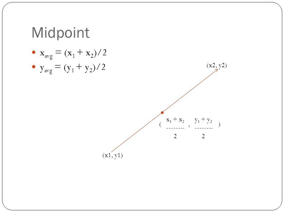 Midpoint xavg = (x1 + x2)/2 yavg = (y1 + y2)/2 (x2, y2) x1 + x2