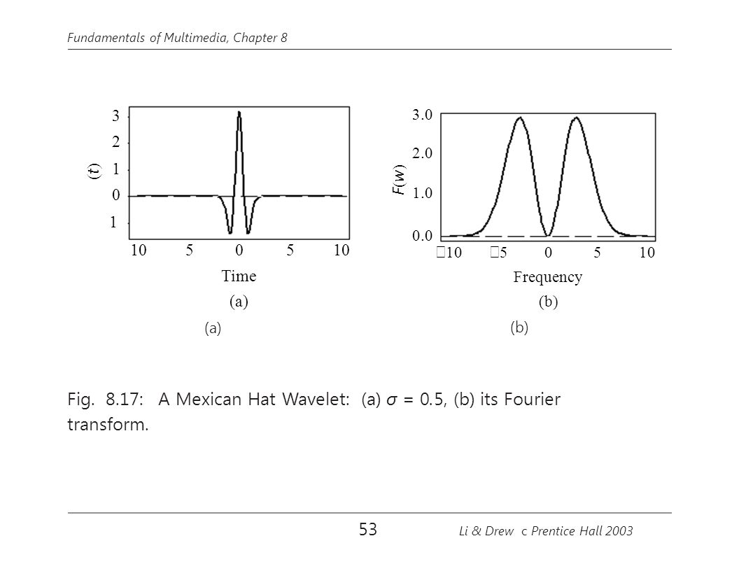 Fig. 8.17: A Mexican Hat Wavelet: (a) σ = 0.5, (b) its Fourier