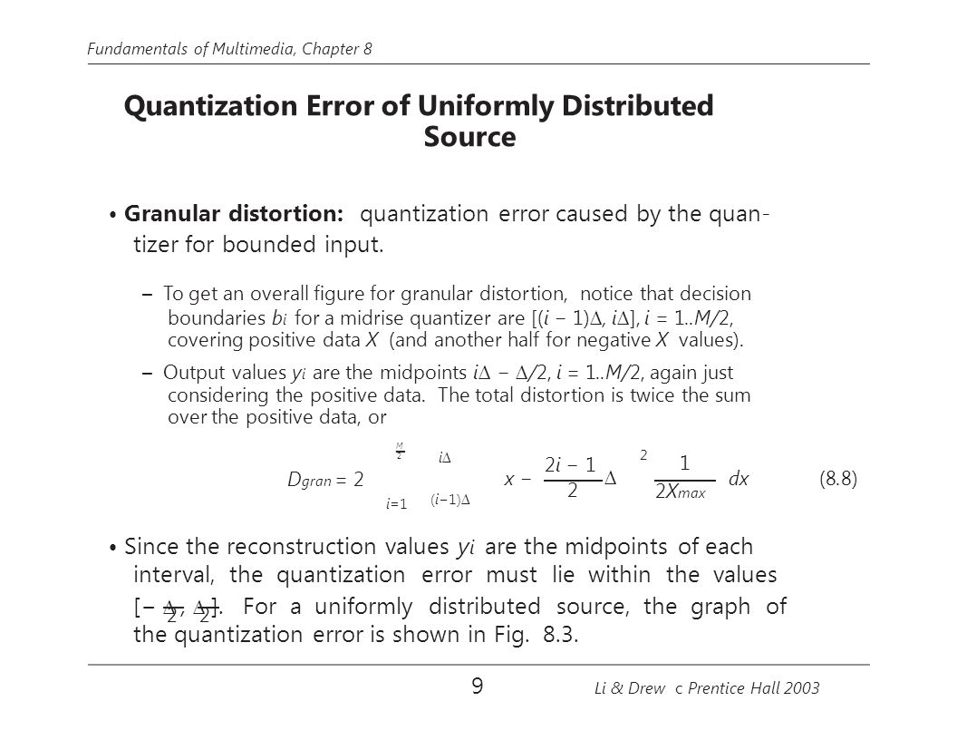 • Granular distortion: quantization error caused by the quan-