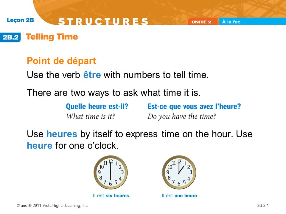 Use the verb être with numbers to tell time.