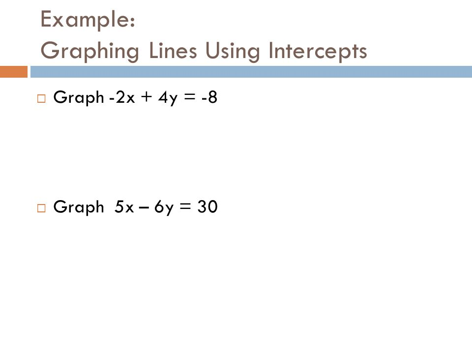Example: Graphing Lines Using Intercepts