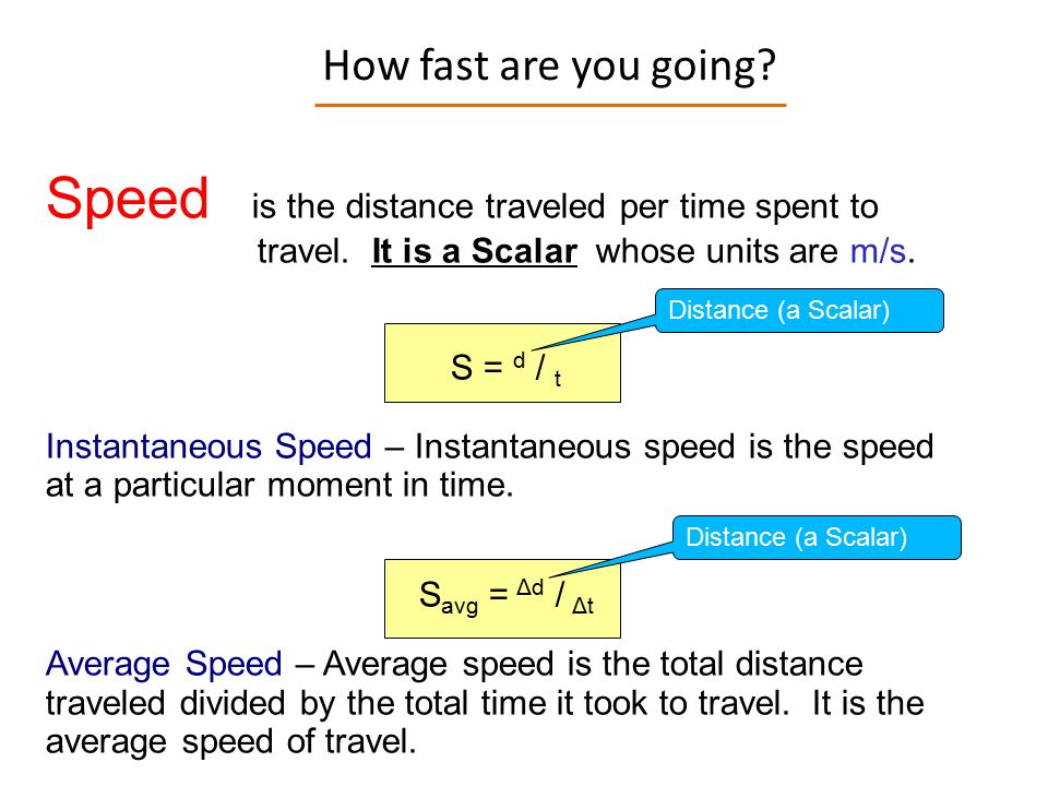 Speed is the distance traveled per time spent to