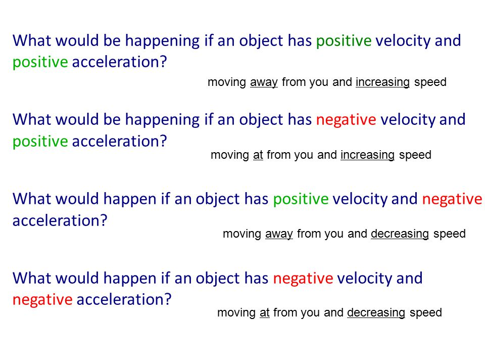 What would be happening if an object has positive velocity and positive acceleration