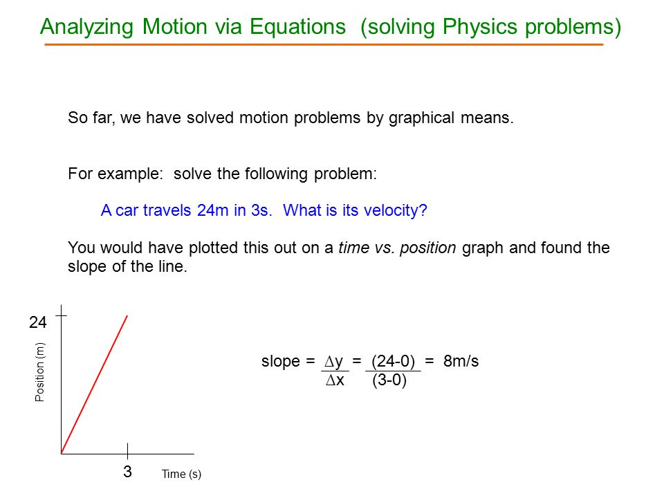 Analyzing Motion via Equations (solving Physics problems)
