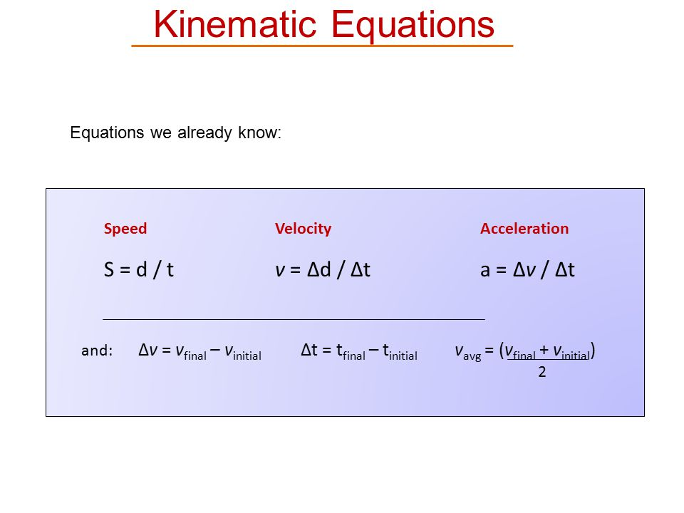 Kinematic Equations 2 Equations we already know: