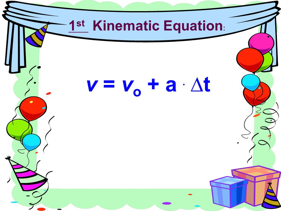 1st Kinematic Equation: